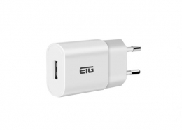 5V1A USB Charger with EU Plug Slim White
